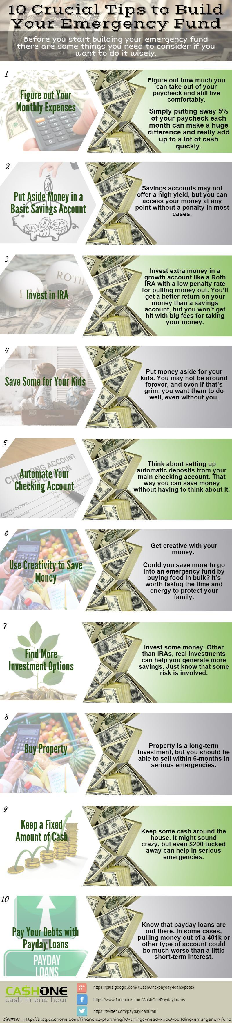 Crucial Tips to Build Your Emergency Fund - Infographic
